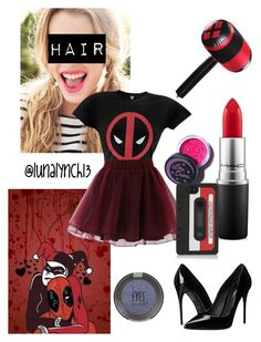 """""""Harley Quinn and Deadpool's daughter"""" by lunalynch13 on Polyvore featuring Chicwish, Dolce&Gabbana, MAC Cosmetics, Topshop, Lime Crime, Marc by Marc Jacobs, women's clothing, women's fashion, women and female"""