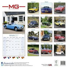 MG Calendar- Calendars 2016 - 2017 Wall Calendars - Car Calendar - Automobile Calendar - MG 16 Month