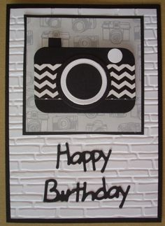 B045 Hand made male birthday card with punch art camera