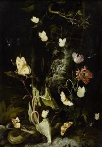Otto Marseus Snuff. Van Schrieck - Forest Still Life With Butterflies, Snake, Frog And Dragon Fly