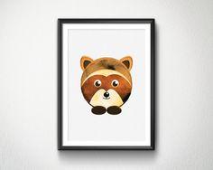 Cute Racoon Watercolor Nursery animals prints by BlessLifePrints Racoon, Blessed, Teddy Bear, Nursery, Watercolor, Toys, Handmade Gifts, Cute, Prints