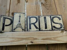 Paris Decor Blocks Sign Black  French Accents