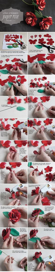 Tutorial: How to Make a Long Stemmed Paper Rose http://www.ellinee.com/blog/wp-content/uploads/2012/01/PaperRoseGiftTagTemplate.pdf