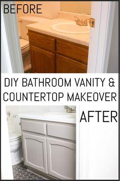 Bathroom Vanity Makeover, White Vanity Bathroom, Simple Bathroom, Bathroom Ideas, Master Bathroom, Refinish Bathroom Vanity, Bathroom Cabinet Makeovers, Budget Bathroom Makeovers, Diy Bathroom Reno