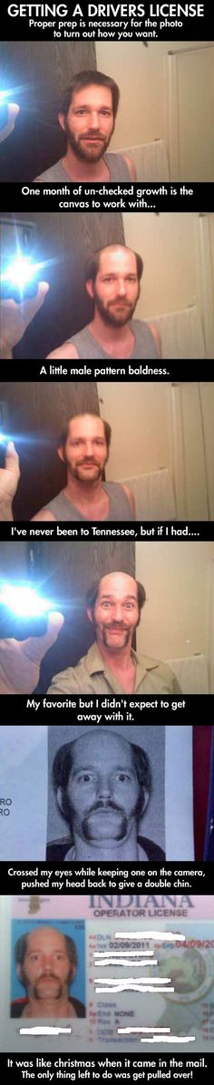 guy shaves head for drivers license