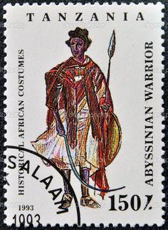 Un timbre imprimé en Tanzanie dédiée aux costumes africains historiques, montre Abyssin guerrier — Image #14016756