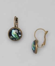 Another great find on #zulily! Gleeful Peacock Gold Blue Bird Dome Drop Earrings by Gleeful Peacock #zulilyfinds