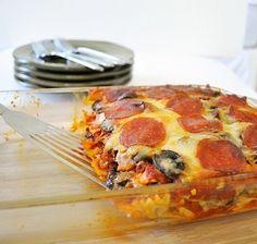 With zuchinni instead of pasta- Pizza Casserole