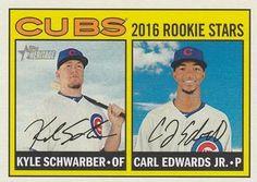 2016 Topps Heritage #161a Kyle Schwarber  / Carl Edwards Jr. Front