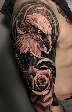 Wicked Tattoos, Cool Arm Tattoos, Hand Tattoos For Guys, Best Sleeve Tattoos, Bird Tattoo Men, Hawk Tattoo, American Flag Sleeve Tattoo, Bald Eagle Tattoos, Adler Tattoo