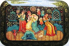 """Russian Lacquer Box Hand Painted """"Beauty and The Beast"""" Palekh"""