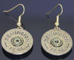 Shotgun Shell Gold Vintage Earrings