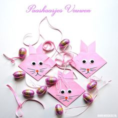 Origami Easter Bunnies by BeColorAnd Crafts To Make, Crafts For Kids, Holiday Crafts, Holiday Decor, Diy Origami, Diy For Girls, Summer Flowers, Holidays And Events, Paper Crafting