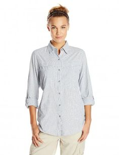 ExOfficio Women's BugsAway Halo Check Long Sleeve, Evening, X-Small Button-front shirt with Insect Shield technology featuring roll-tab sleeves and security zip pocket Mosquito Repellent Clothing, Best Hiking Socks, Hiking Gear, Free Clothes, Clothes For Women, Camping Outfits, Outdoor Outfit, Outdoor Gear, Swimsuit Cover Ups