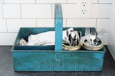 Table Setting Metal Caddy: to help the kids set the table themselves.  Flower Patch Farmgirl: Our Kitchen - The Debut