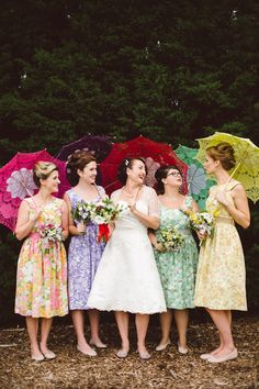 Colourful 50s Vintage Wedding  If you find something with a floral print, it might work!  Look how cute these dresses are!