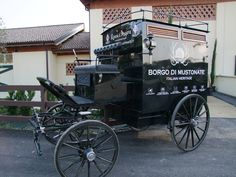 The carriage - used for tasting experiences and tours at the Borgo