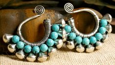 Handmade Miao Silver Tribal Earring Hangers - TURQUOISE JALA SPIRAL