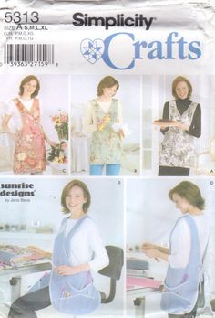13ad9ccb1be Simplicity 5313 Designer APRON Pattern 4 Styles Sunrise Designs Womens Sewing  Pattern Size S M L XL Bust 32 - 46 UNCUT