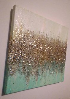 Handmade Abstract Glitter Painting Custom Modern Chic Home D.-Handmade Abstract Glitter Painting Custom Modern Chic Home Decor Mint Blue Green Gold Handmade Abstract Glitter Painting Custom Modern Chic Home - Diy Wall Art, Diy Art, Diy And Crafts, Arts And Crafts, Glitter Canvas, Gold Glitter, Glitter Wall Art, Glitter Gif, Glitter Paint On Walls