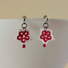 Tatted Flower Earrings - Red and White - Christmas - Red Glass - Tiny White Beads - Frivolite - Chiacchierino - OOAK - Lace - Accessories by TatsRight on Etsy https://www.etsy.com/uk/listing/556419176/tatted-flower-earrings-red-and-white
