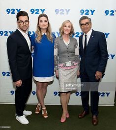 Actors Daniel Levy, Annie Murphy, Catherine O'Hara and Eugene Levy attend Street Y's 'Schitt's Creek' panel at Street Y on March 2016 in New York City. Eugene Levy, Catherine O'hara, David Rose, Daniel Levy, Schitts Creek, My Spirit Animal, Music Tv, Favorite Tv Shows, Music Artists