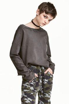 Bluză cu aspect prespălat - Gri-închis - FEMEI | H&M RO 1