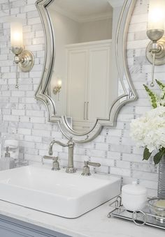 Master Bathrooms — A Well Dressed Home Small Bathroom, Master Bathrooms, Master Baths, Tiny Bathrooms, Bathroom Mirrors, Mirror Mirror, Master Bedroom, Bathroom Pictures, Bathroom Ideas