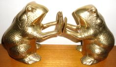 Vintage Mid Century Large Brass Frog Bookends by salvagetheory, $175.00