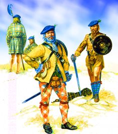 Highland chief with clansmen during the Jacobite Rebellion
