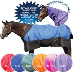 We love our StormShield® 1200D CLASSIC EURO Turnouts. A customer favorite! This blanket offers a great fit, superior durability and warmth with quality waterproofing. Blanket features include: snap front with Velcro closure assist, gussets, criss cross surcingles, detachable leg straps, tail cover and no back seam.  Blanket comes with a 1 year guarantee. Available in heavyweight, midweight or sheet. Neck cover also available. Horsewear at Schneiders Saddlery.