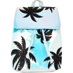 SKINNYDIP Palm backpack ($45) ❤ liked on Polyvore featuring bags, backpacks, day pack backpack, blue backpack, draw string backpack, blue drawstring backpack and backpack bags