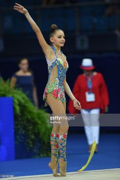 Arina Averina competes during the 35th Rhythmic Gymnastics World Championships at Adriatic Arena on 29 August 2017 in Pesaro Italy.