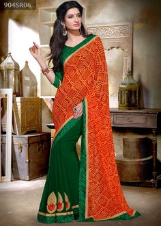 Orange and green chiffon and georgette half half saree intricate with bandhej print, applique, stone, zari, resham embroidery, lace and patch border work. Available with green art silk blouse.Price USD 45