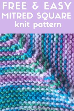 Free Knit Pattern for a mitred or square block. Use up all your scraps with this pattern and knit enough to make a throw. Free Knit Pattern for a mitred or square block. Use up all your scraps with this pattern and knit enough to make a throw. Knitted Squares Pattern, Knitting Squares, Easy Knitting Patterns, Circular Knitting Needles, Free Knitting, Knitting Projects, Knit Blanket Patterns, Knitting Stitches, Crochet Projects