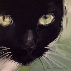 Paintings From the Parlor: Luna My Tuxedo Cat - Original Oil Painting by Diane Irvine Armitage