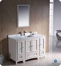 """48"""" Fresca Oxford (FVN20-122412AW) Traditional Bathroom Vanity With Two Side Cabinets - Antique White #vanities #HomeRemodel #BathroomRemodel #BlondyBathHome #Freestanding"""