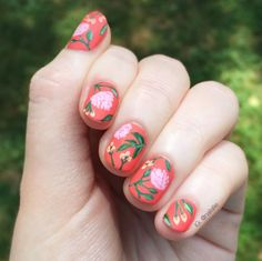 I was inspired by a peony wallpaper by Rifle Paper Co. for this design. Also, I am in love with this orange! It's OPI's Toucan Do It If You Try.