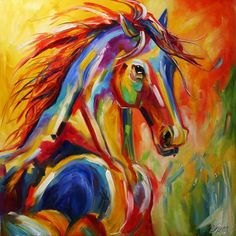 Art 'Rebirth' - by Laurie Justus Pace from Horses Dog Paintings, Abstract Paintings, Elephant Paintings, Horse Oil Painting, A Level Art, Vintage Horse, Colorful Animals, Arte Pop, Equine Art