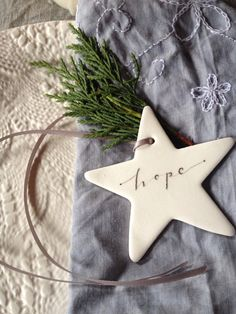 Ceramic Calligraphy Christmas Star- Hope