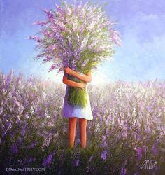 Wild Flowers  2016-11 Art Puns, Illustration Girl, Beautiful Paintings, Cute Paintings, Cartoon Drawings, Female Art, Online Art Gallery, Flower Art, Painting & Drawing