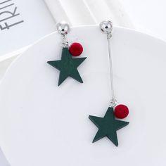 Korean Fashion wooden Green five-pointed star &Red hair ball women's earrings asymmetrical earrings female jewelry gifts JF033