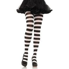 Black And White Wide Striped Pantyhose - Stockings and Tights
