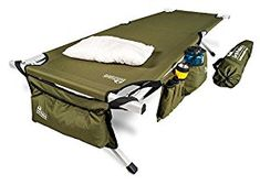 """Amazon.com: EARTH Ultimate """"Extra-Strong"""" Military Style Camping Cot, 5-YEAR WARRANTY, w/Free Side Storage Bag System and Pillow: Sports & Outdoors"""