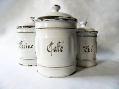 1930's French Kitchen CANISTERS SET of 3 by PetitesChosesDeLaVie