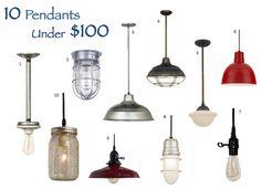 Barn Light Electric 10 Pendants Under $100--love this website: barnlightelectric.com