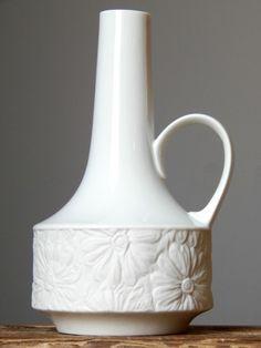 Vintage 60-70s KRAUTHEIM BISQUE/GLOSS Porcelain Vase Bavaria German Matt Op Art