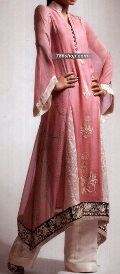 Pink/Off-White Crinkle Chiffon Suit