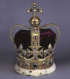 St Edward's Crown was made in 1661 for the coronation of Charles II, because the original Crown Jewels had been melted down by Oliver Cromwell. It takes it's name from the crown of Edward the Confessor that was used to crown the monarchs from William I to King John.