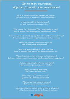 Handy Conversation starters. #Language #French #Penpal